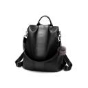 Fashion Solid Color PU Leather Leisure Shoulder Bag Backpack for Girls 30*16*31 CM