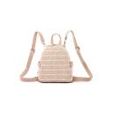 New Trendy Plain Rattan Weaved Beach Travel Bag Backpack 20*10*19 CM