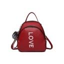 Women's Elegant Letter LOVE Embroidery Soft Leather Shoulder Bag Satchel Backpack Handbag 19*11*22 CM