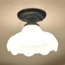 White Flower Ceiling Lamp 1 Light Rustic Frosted Glass Flush Mount Light for Bedroom