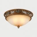 Bedroom Balcony Dome LED Ceiling Light Frosted Glass 3 Lights Vintage Style Flush Light