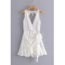Summer Simple White Surplice Neck Open Back Sleeveless Mini A-Line Dress