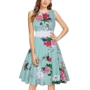 Womens Hot Fashion Round Neck Sleeveless Lace-Panel Waist Floral Print Midi Swing Dress