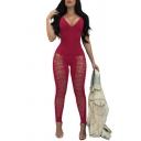 Women Sexy Plain V-Neck Sleeveless Cutout Pants Slim Fit Jumpsuit