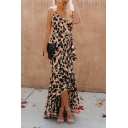 Women's Hot Fashion Sexy Khaki Leopard Print V-Neck Sleeveless Bow-Tied Waist Maxi Asymmetrical Dress