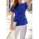 Womens New Trendy Bow-Tied Front Round Neck Short Sleeve Plain Chiffon T-Shirt