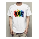 Unique Gay Colorful Painting Figure Printed White Short Sleeve T-Shirt