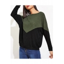 Women's Round Neck Long Sleeve Color Block Ribbed Detail T-shirt