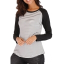 Hot Fashion Stripes Print Round Neck Long Sleeve Color Block T-Shirt For Women