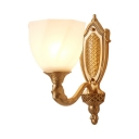 Antique Style Bell Shade Wall Sconce Frosted Glass 1/2 Lights Brass Wall Light for Bedroom