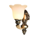 Vintage Style White Petal Wall Lamp 1/2 Lights Frosted Glass Wall Light with Engraving Arm