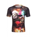 New Trendy 3D Galaxy Cartoon Cat and Panda Printed Basic Round Neck Short Sleeve T-Shirt For Men