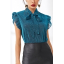 Womens Chic Silk Blue Bow-Tied Collar Ruffled Hem Fitted Blouse Top