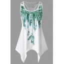 Womens Hot Fashion Feather Printed Chic Lace Panel Back Scoop Neck Sleeveless Asymmetrical Tank Top