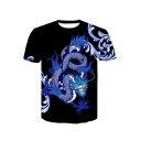 Summer Hot Popular 3D Dragon Printed Basic Round Neck Short Sleeve Black T-Shirt For Men