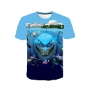 Men's Hot Popular 3D Finding Nemo Cartoon Printed Basic Round Neck Short Sleeve Light Blue T-Shirt