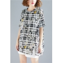 Womens Retro Check Floral Printed Basic Round Neck Short Sleeve Longline Linen T-Shirt
