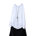 Womens Simple Solid Color Long Sleeve Drawstring Hooded White Cotton Relaxed Tee