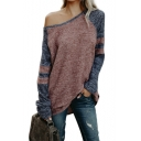 Womens New Trendy Color Block One Shoulder Long Sleeve Loose Knit T-Shirt