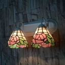 Stained Glass Rose Wall Sconce 2 Lights Antique Style Sconce Light for Hotel Shop