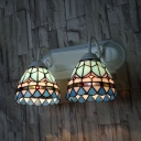 Blue Dome Wall Light 2 Lights Tiffany Style Antique Glass Sconce Light for Hallway