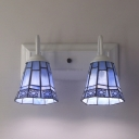 Glass Bell Shade Sconce Light 2 Lights Tiffany Style Wall Lamp for Living Room Bedroom