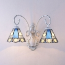 Glass Cone Shade Sconce Light Shop Cafe 2 Lights Tiffany Style Wall Light with Star
