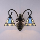 Foyer Cafe Cone Wall Sconce with Star 2 Lights Vintage Style Stained Glass Wall Light