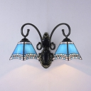 2 Lights Tapered Wall Light Mediterranean Style Stained Glass Sconce Light for Bathroom