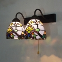 Bedroom Balcony Dome Wall Light with Pull Chain 2 Lights Baroque Stained Glass Sconce Light