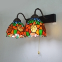 Stained Glass Flower Wall Light 2 Lights Rustic Style Sconce Light with Pull Chain for Bedroom