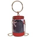 Designer Cylinder Shape Top Handle Transparent Crossbody Bag 13*11*18 CM
