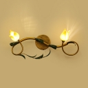 Metal Flower Shade Sconce Light 2 Lights Rustic Style Wall Lamp in Purple/Yellow for Bedroom