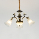 Frosted Glass Flower Chandelier 3/6 Lights Antique Style Ceiling Lamp with Leaf in White for Hotel