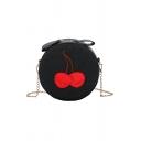 Fashion Cherry Pattern Round Crossbody Bag with Chain Strap