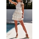 Womens Summer White Halter Neck Hollow Out Back Sleeveless Layered Ruffle Mini A-Line Lace Dress