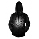 House Targaryen Dragon Badge 3D Printed Long Sleeve Casual Loose Black Zip Up Hoodie