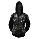 Cool Predator Cosplay 3D Printing Long Sleeve Zip Up Black Drawstring Hoodie