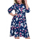 Women's Hot Fashion Round Neck 3/4 Sleeve Bow-Tied Waist Floral Print Plus Size Midi Swing Dress