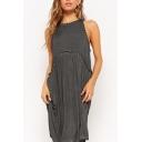 Women's Fashion Plain Printed Round Neck Sleeveless Pleated Detail Midi Tank Dress