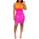 Womens Orange and Pink Color Block Sleeveless Zipper Mini Hooded Bodycon Dress