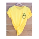 Funny Cute Cartoon Pocket Avocado Print Basic Short Sleeve Cotton Tee