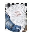 Popular Letter LASHES COFFEE Short Sleeve Round Neck Basic Casual Loose T-Shirt
