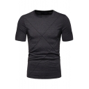 Men's New Stylish Round Neck Short Sleeve Solid Color Fitted T-Shirt