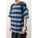 Summer Fashion Stripes Pattern Half Sleeve Round Neck Casual T-Shirt for Men