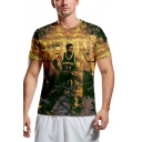 New Popular Figure 3D Printed Round Neck Short Sleeve Slim Fit T-Shirt for Men