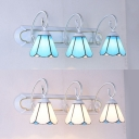 Simple Style Cone Wall Light Glass 3 Lights White/Blue Sconce Lamp for Living Room Bathroom