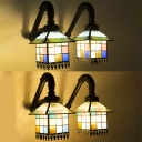 2 Lights House Wall Light Tiffany Style Stained Glass Sconce Light for Bedroom