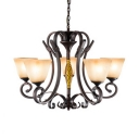 American Rustic Hanging Light Dome Shade 5/6/8 Lights Frosted Glass & Metal Chandelier for Dining Room