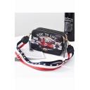 Designer Letter Motorcycle Printed Striped Strap Black Crossbody Shoulder Bag Handbag 21*7*13 CM